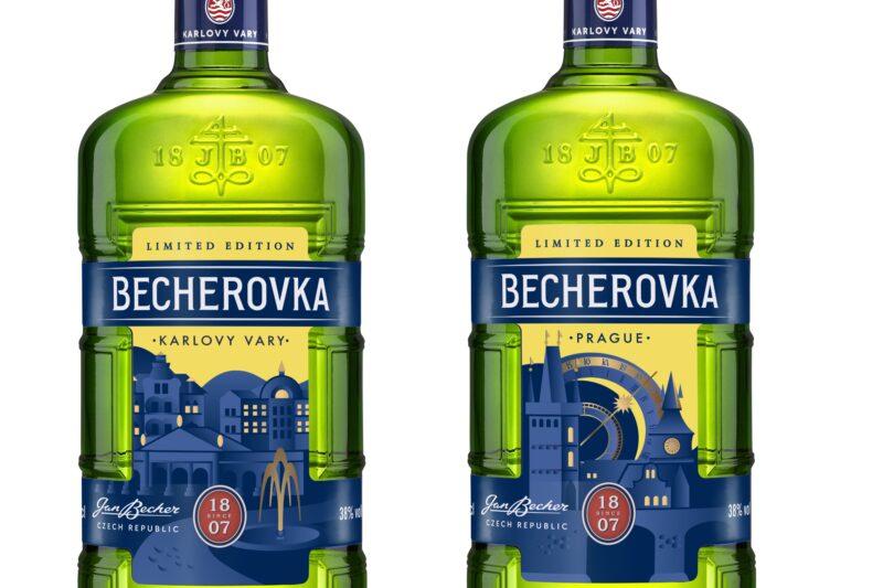 Limitovaná edice lahví Becherovka Cities jako originální dárek nebo do sbírky