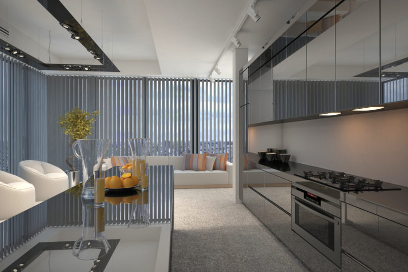Interior of Modern Condo Kitchen and Sitting Room